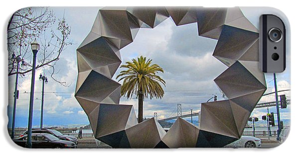 Alcatraz iPhone Cases - Ferry building bay bridge area sculpture iPhone Case by Tina M Wenger