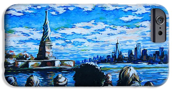 Democracy Paintings iPhone Cases - Ferry to Liberty Island iPhone Case by Angie Mendoza