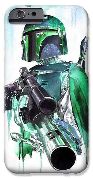 Police iPhone Cases - Fett clone blue iPhone Case by Christina Perry