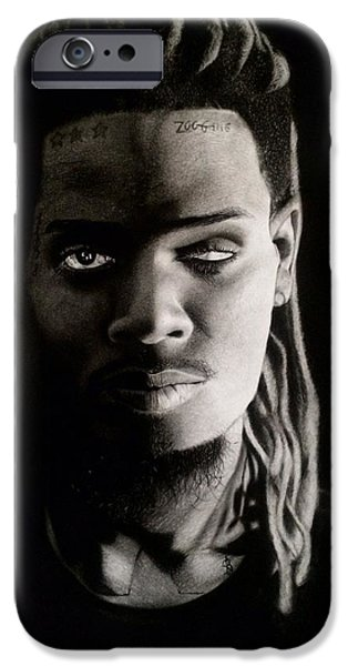 Hyperrealistic iPhone Cases - Fetty Wap Drawing iPhone Case by Angelee Borrero