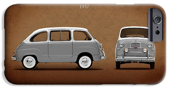 500 iPhone Cases - Fiat 600 Multipla 1957 iPhone Case by Mark Rogan