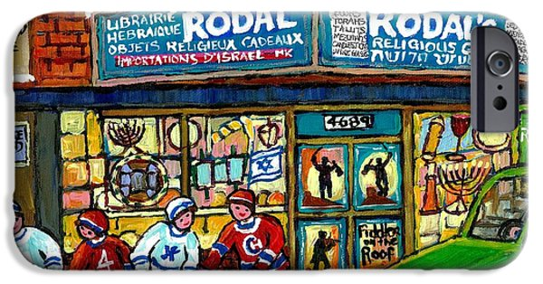 Hockey Paintings iPhone Cases - Fiddler On The Roof Painting Canadian Art Jewish Montreal Memories Rodal Gift Shop Van Horne Hockey  iPhone Case by Carole Spandau
