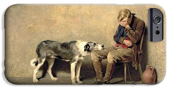 Relationship Paintings iPhone Cases - Fidelity iPhone Case by Briton Riviere