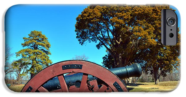 Yorktown Virginia iPhone Cases - Field Gun at Yorktown iPhone Case by Nancy Comley