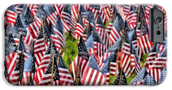 American Flag iPhone Cases - Field of American Flags oil pastel iPhone Case by Elizabeth Dow