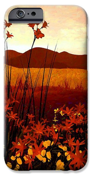 Warm Digital Art iPhone Cases - Field of Flowers iPhone Case by Cynthia Decker