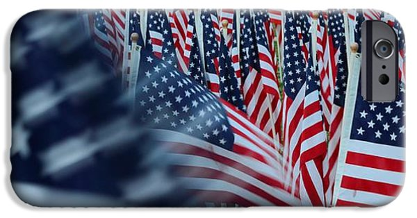 Fourth Of July iPhone Cases - Field of Honor - American Flags in Motion iPhone Case by Matt Plyler