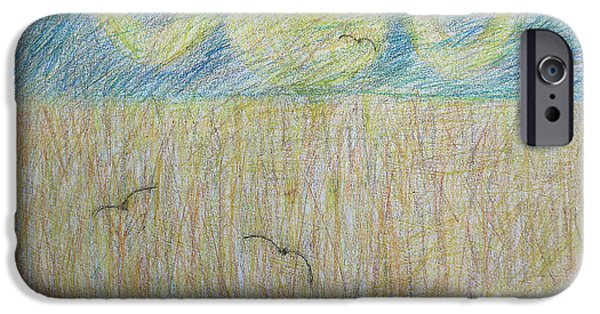 Crayons Drawings iPhone Cases - Field Of Wheat iPhone Case by Patrick J Murphy