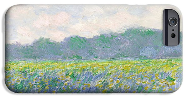 D iPhone Cases - Field of Yellow Irises at Giverny iPhone Case by Claude Monet