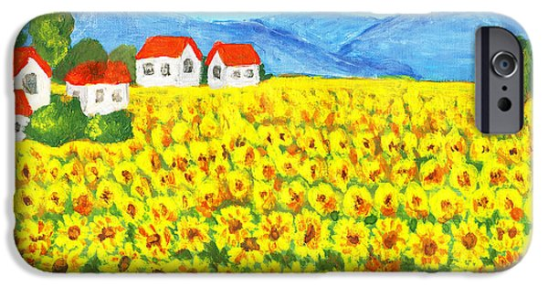Botanic Illustration iPhone Cases - Field with sunflowers iPhone Case by Irina  Afonskaya