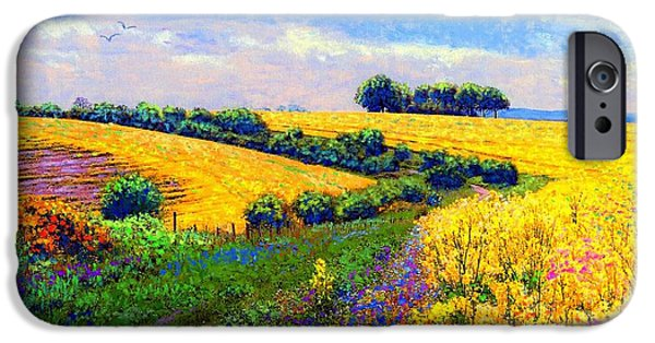Canola Field iPhone Cases - Fields of Gold iPhone Case by Jane Small