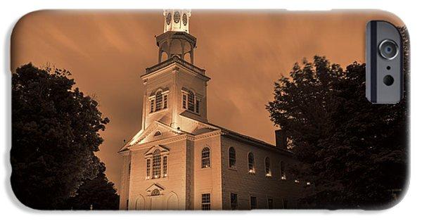 Raining iPhone Cases - Fierce Grace - First Church Bennington iPhone Case by Stephen Stookey