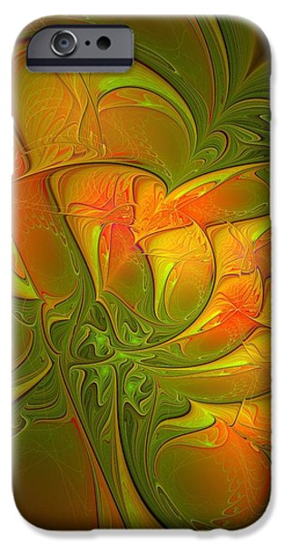 Abstract Digital Art iPhone Cases - Fiery Glow iPhone Case by Amanda Moore