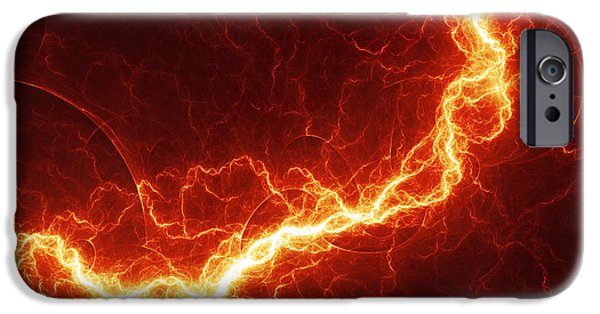 Electrical iPhone Cases - Fiery lightning iPhone Case by Martin Capek