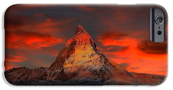 Swiss Landscape iPhone Cases - Fiery Sunset over the Matterhorn iPhone Case by Klausdie