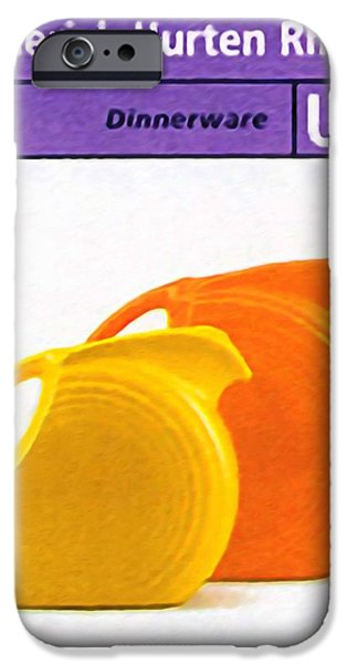 Old Pitcher Paintings iPhone Cases - Fiesta dinnerware iPhone Case by Lanjee Chee
