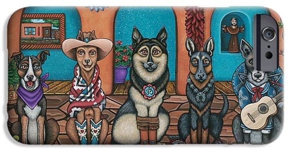 Chip iPhone Cases - Fiesta Dogs iPhone Case by Victoria De Almeida