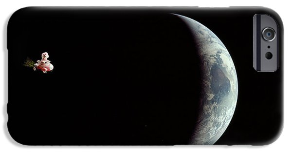 Happy Posters iPhone Cases - Fifi in space iPhone Case by Michael Ledray