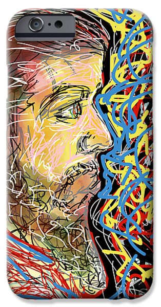 Abstract Digital Drawings iPhone Cases - Fifteen Minute Beard iPhone Case by Robert Yaeger