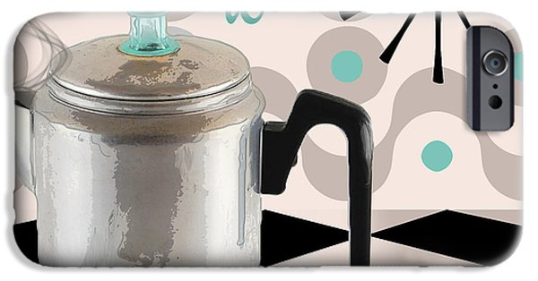 Mad iPhone Cases - Fifties Kitchen Coffee Pot Perk Coffee iPhone Case by Mindy Sommers