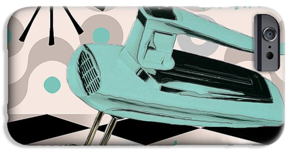 Retro Art iPhone Cases - Fifties Kitchen Portable Mixer iPhone Case by Mindy Sommers