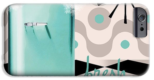 Retro Art iPhone Cases - Fifties Kitchen Refrigerator iPhone Case by Mindy Sommers