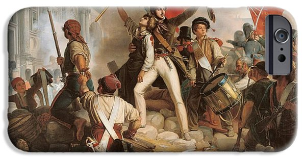 Liberty Paintings iPhone Cases - Fighting at the Hotel de Ville iPhone Case by Jean Victor Schnetz