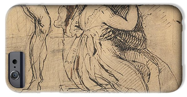Swiss Drawings iPhone Cases - Figure Leaning over Stairs iPhone Case by Henry Fuseli