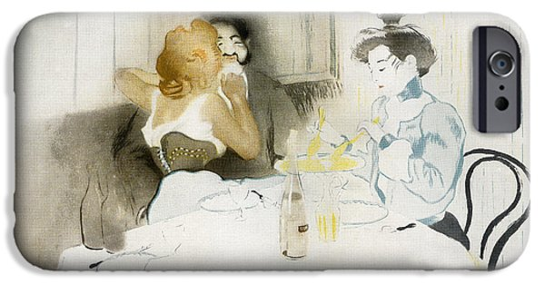 Table Wine Drawings iPhone Cases - Figures Seated In A Caf iPhone Case by Vintage Design Pics