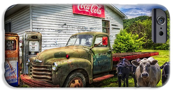 1949 Plymouth iPhone Cases - Fill er Up? iPhone Case by Debra and Dave Vanderlaan
