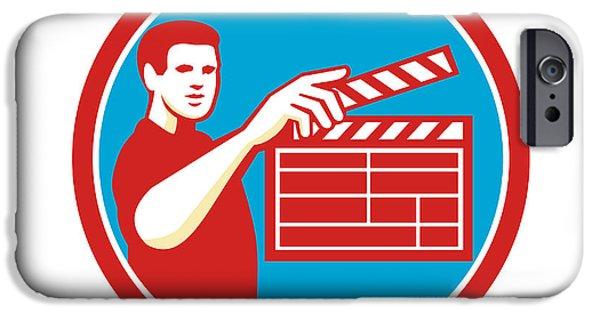 Film Maker iPhone Cases - Film Crew Clapperboard Circle Retro iPhone Case by Aloysius Patrimonio