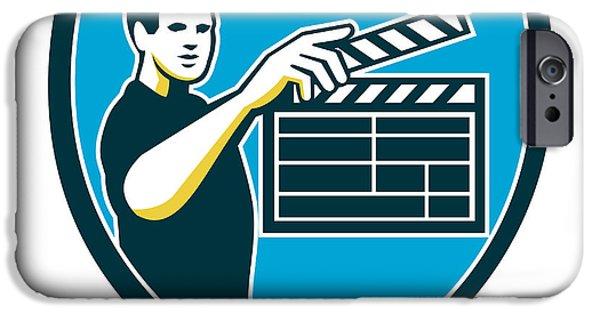 Film Maker iPhone Cases - Film Crew Clapperboard Shield Retro iPhone Case by Aloysius Patrimonio