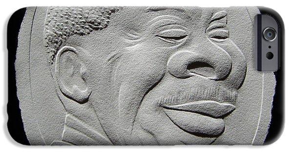Portraits Reliefs iPhone Cases - Fingernail Relief Portrait Of B B King iPhone Case by Suhas Tavkar