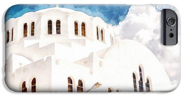 Village iPhone Cases - Fira Orthodox Metropolitan cathedral digital watercolor painting iPhone Case by Antony McAulay