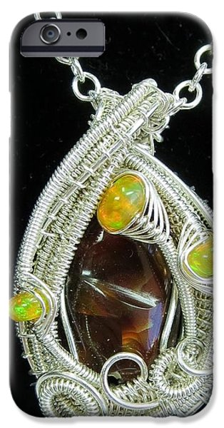 Jordan Jewelry iPhone Cases - Fire Agate Pendant in Sterling Silver with Ethiopian Welo Opals FRAGPSS1 iPhone Case by Heather Jordan