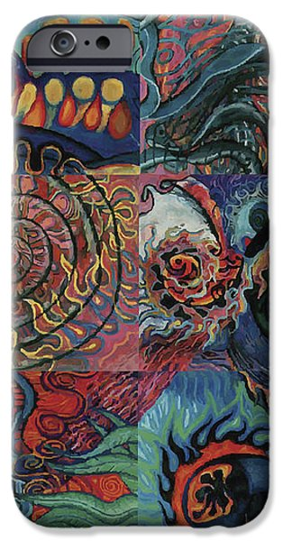 Mixed Media Pastels iPhone Cases - Fire Air Water Earth X iPhone Case by Joanna Whitney