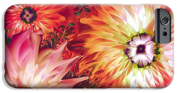 Fractal Paintings iPhone Cases - Fire Asters iPhone Case by Mindy Sommers