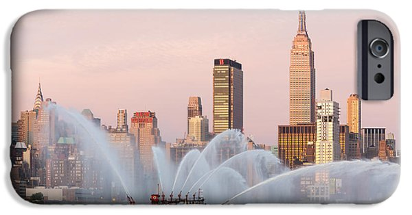 Best Sellers -  - 4th July Photographs iPhone Cases - Fire Boat and Manhattan Skyline I iPhone Case by Clarence Holmes