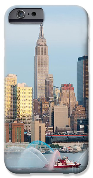 Fire Boat and Manhattan Skyline III  iPhone Case by Clarence Holmes