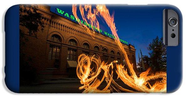 Spokane iPhone Cases - Fire Dancers In Spokane W A iPhone Case by Steve Gadomski