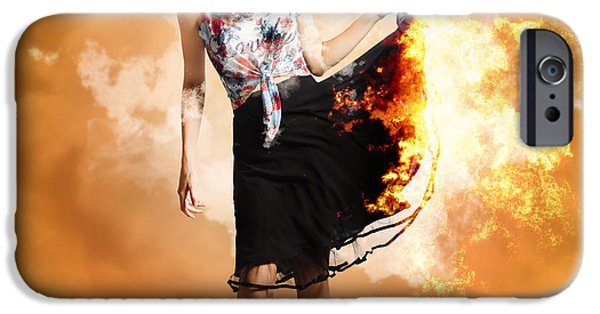 Model iPhone Cases - Fire fashion female pin-up iPhone Case by Ryan Jorgensen