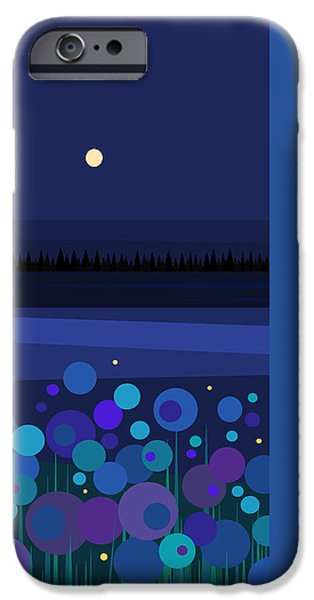 Midnight Blue iPhone Cases - Fire Flies iPhone Case by Val Arie