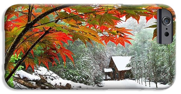 Recently Sold -  - Snowy iPhone Cases - Fire Fog and Snowy Fence iPhone Case by Debra and Dave Vanderlaan