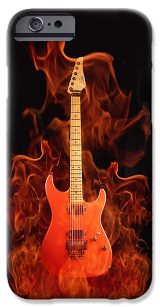 Shape iPhone Cases - Fire Guitar iPhone Case by Sheela Ajith