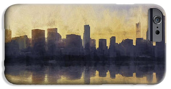 Colorful Abstract iPhone Cases - Fire in the Sky Chicago at Sunset iPhone Case by Scott Norris