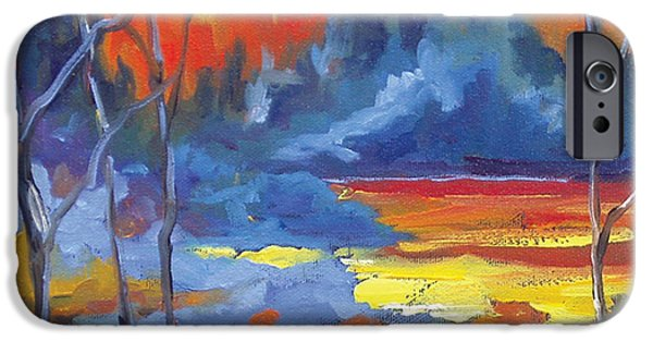 Canadiens Paintings iPhone Cases - Fire Lake iPhone Case by Richard T Pranke