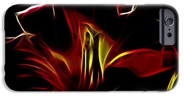 Tiger Fractal iPhone Cases - Fire Lily iPhone Case by Cheryl Young
