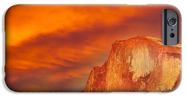 Yellow Images iPhone Cases - Fire Over Half Dome iPhone Case by Az Jackson
