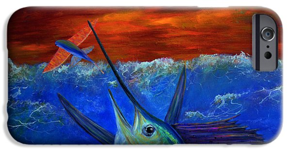 Blue Abstracts iPhone Cases - Fire Sail iPhone Case by Ken Figurski