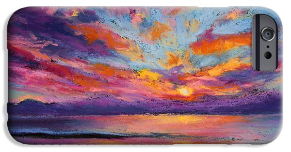 Ocean Sunset Pastels iPhone Cases - Fire Sky iPhone Case by Susan Jenkins